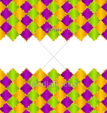 Illustration Abstract Pattern For Mardi Gras Wirh Green, Purple, Yellow Colors - Vector Stock Photo