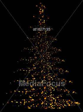 Illustration Abstract Pine Tree Made Of Golden Confetti Isolated On Black Background - Vector Stock Photo