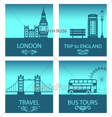 Illustration Abstract Postcards For Trip Of England With Silhouette Background Of Abstract London Skyline And Symbols Of London - Vector Stock Photo