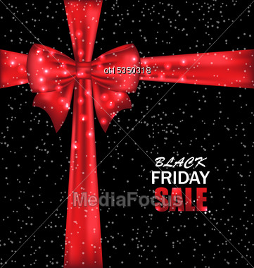 Illustration Advertising Background With Bow Ribbon For Black Friday Sales - Vector Stock Photo