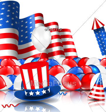 Illustration American Background With Balloons, Party Hats, Firework Rocket, Flag And Confetti - Vector Stock Photo