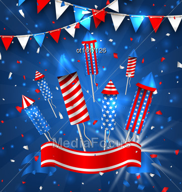 Illustration American Greeting Background For Independence Day 4th July. Poster With Firecrackers And Bunting. Traditional Colors - Vector Stock Photo