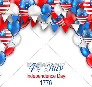 Illustration American Traditional Celebration Background For Independence Day. Poster With Balloons And Bunting - Vector Stock Photo