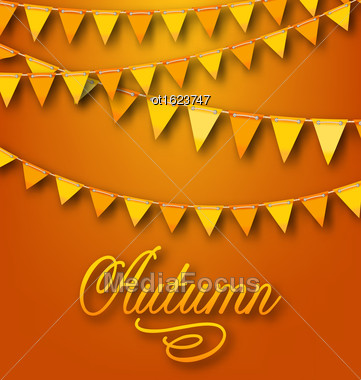 Illustration Autumn Bright Holiday Card With Hanging Bunting Pennants. Ornamental Text - Vector Stock Photo