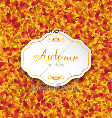 Illustration Autumn Card On Orange Leaves Texture, September Background - Vector Stock Photo