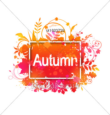 Illustration Autumn Grunge Banner Made In Leaves, Plants, Spots. Isolated On White Background - Vector Stock Photo