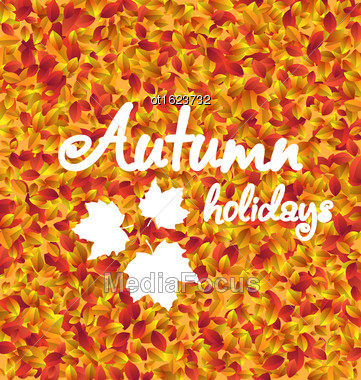 Illustration Autumn Holiday Background, Leaves Texture - Vector Stock Photo
