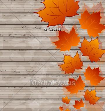 Illustration Autumn Leaves Maple On Wooden Texture - Vector Stock Photo