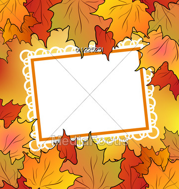 Autumn Maple Leaves With Floral Greeting Card Stock Photo