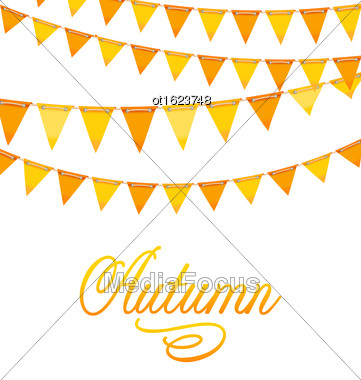 Illustration Autumnal Decoration With Orange And Yellow Bunting Flags And Text - Vector Stock Photo