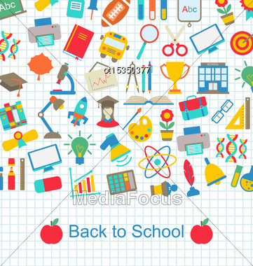Illustration Back To School Background With Education Objects - Vector Stock Photo