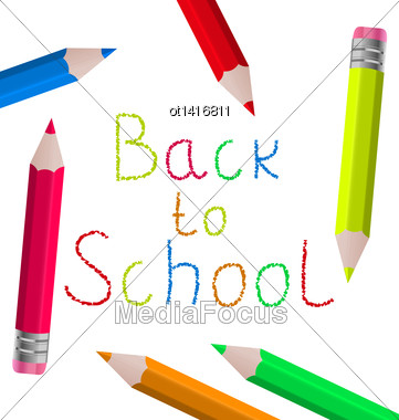 Illustration Back To School Message With Pencils On White Background - Vector Stock Photo
