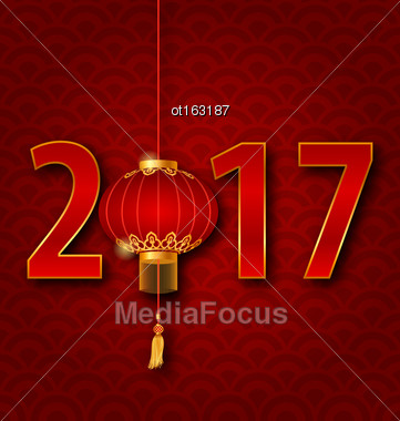 Illustration Background For 2017 New Year With Chinese Lantern. Seigaiha Texture - Vector Stock Photo