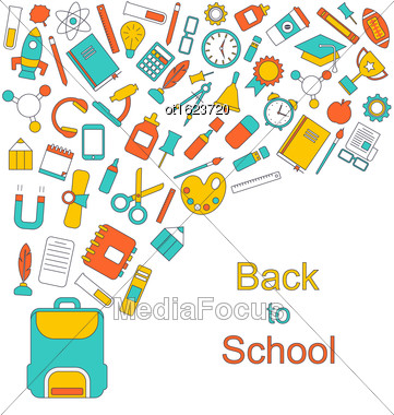 Illustration Background For Back To School, Education Simple Colorful Objects - Vector Stock Photo