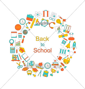 Illustration Background For Back To School, Education Simple Colorful Objects, Line Art Style - Vector Stock Photo
