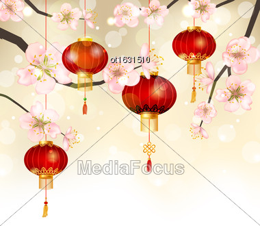 Illustration Background With Cherry Blossom And Hanging Lanterns, Spring Japanese Festival - Vector Stock Photo