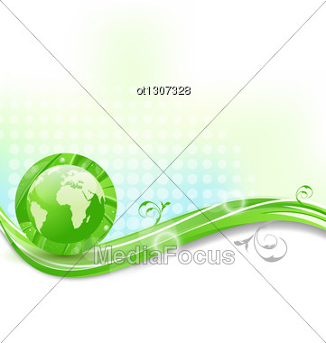 Background With Global Planet And Eco Green Leaves Stock Photo