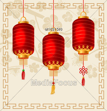 Illustration Background In Oriental Style With Chinese Lanterns. Ornamental Frame -Vector Stock Photo