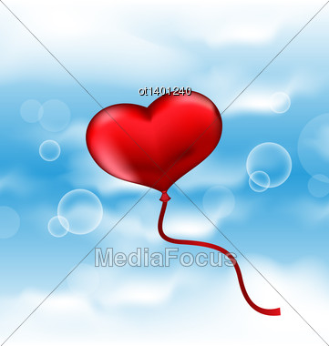 Illustration Balloon In The Shape Of Heart In Blue Sky - Vector Stock Photo