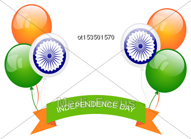 Illustration Balloons In Traditional Tricolor Of Indian Flag For Independence Day - Vector Stock Photo