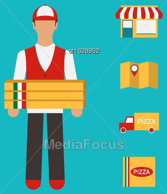 Illustration Banner With Pizza Delivery, Perfect Service. Flat Simple Colorful Icons - Vector Stock Photo