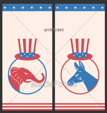 Illustration Banners For Advertise Of United States Political Parties. Flyers With Donkey And Elephant. Vintage Style Design - Vector Stock Photo
