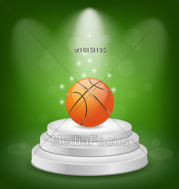 Illustration Basket Ball On White Podium With Light - Vector Stock Photo