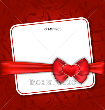 Illustration Beautiful Card For Valentine Day With Red Heart And Bow - Vector Stock Photo