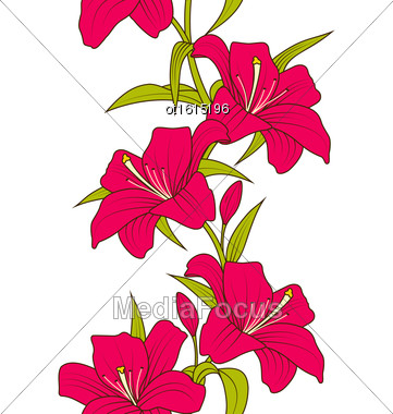 Illustration Beautiful Seamless Wallpaper With Lily Flowers. Hand Drawn Style. Colorful Nature Pattern - Vector Stock Photo