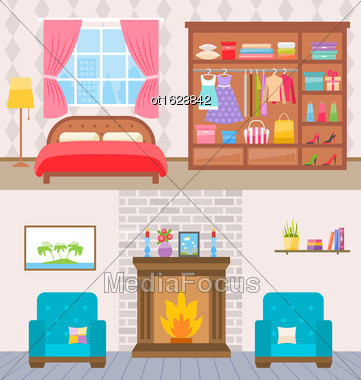 Illustration Bedroom With Furniture, Window And Wardrobe. Living Room With Armchairs And Fireplace - Vector Stock Photo