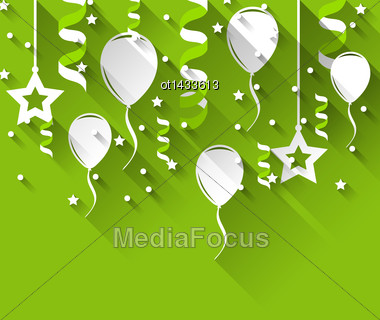 Illustration Birthday Background With Balloons, Stars And Confetti, Trendy Flat Style - Vector Stock Photo