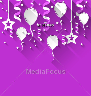 Illustration Birthday Background With Balloons, Stars And Confetti, Trendy Flat Style With Long Shadows - Vector Stock Photo