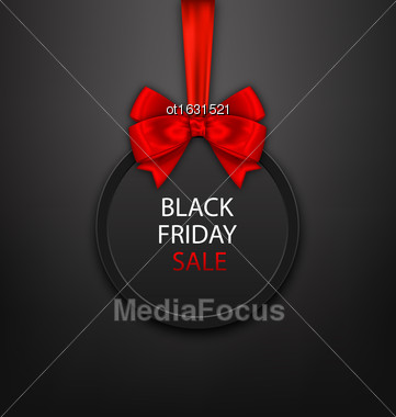 Illustration Black Friday Round Frame With Red Ribbon And Bow - Vector Stock Photo