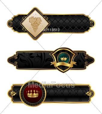 Black-gold Decorative Frames Stock Photo