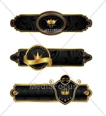 Black-gold Decorative Frames Stock Photo