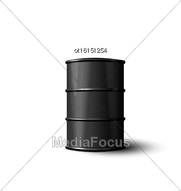 Illustration Black Metal Barrel Of Oil Isolated On White Background - Vector Stock Photo