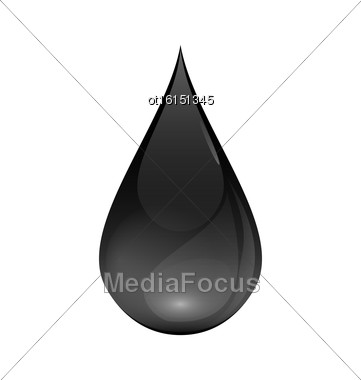 Illustration Black Oil Drop Of Petroleum Isolated On White Background - Vector Stock Photo
