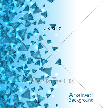 Illustration Blue Abstract Background With Pyramids With Light Effects - Vector Stock Photo