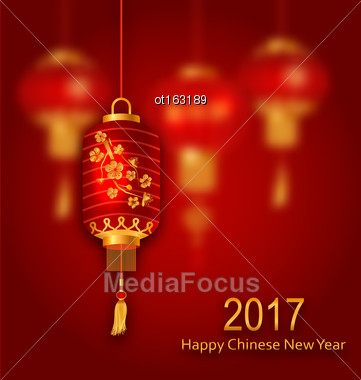 Illustration Blurred Background For Chinese New Year 2017 With Red Lanterns - Vector Stock Photo