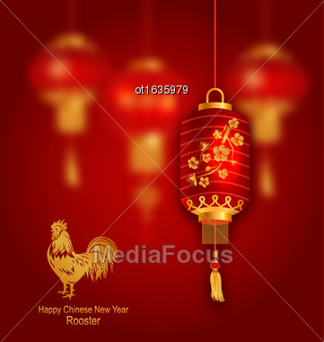 Illustration Blurred Background With Red Lanterns And Rooster As Symbol Chinese New Year 2017 - Vector Stock Photo