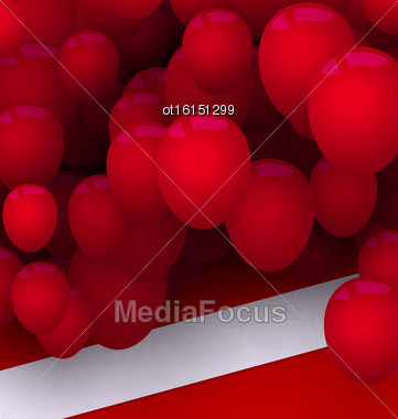 Illustration Bright Card With Red Balloons For Your Holiday - Vector Stock Photo