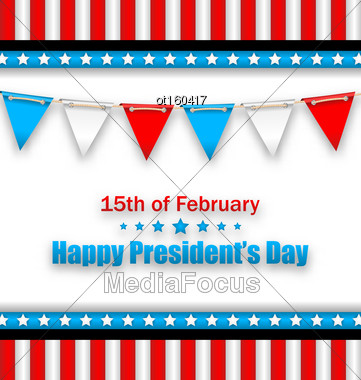 Illustration Brochure With Bunting Flags For Happy Presidents Day Of USA. Template Celebration Card - Vector Stock Photo