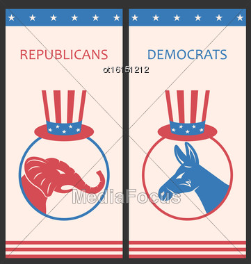 Illustration Brochures For Advertise Of United States Political Parties. Flyers With Donkey And Elephant. Old Style Design - Vector Stock Photo