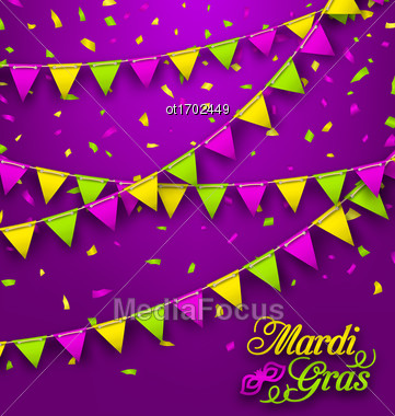 Illustration Bunting Background For Mardi Gras, Poster For Fat Tuesday - Vector Stock Photo