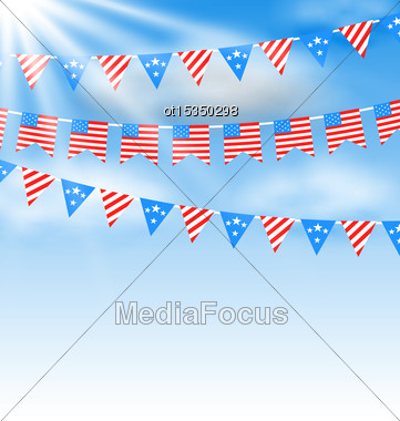 Illustration Bunting Garlands In Traditional American Colors For Independence Day - Vector Stock Photo