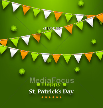 Illustration Bunting Pennants In Irish Colors And Clovers For St. Patrick's Day - Vector Stock Photo