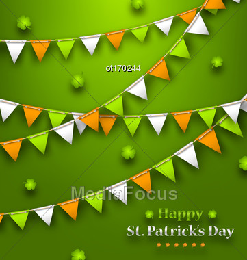 Illustration Bunting Pennants In Irish Colors And Clovers For St. Patricks Day, Design For Poster, Invitation, Card Etc. - Vector Stock Photo