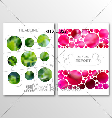 Illustration Business Brochures, Blur Backgrounds. Layout Can Be Used For Design For Catalog, Booklet, Newsletter. A4 Size - Vector Stock Photo