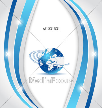 Business Card With Earth Planet Stock Photo