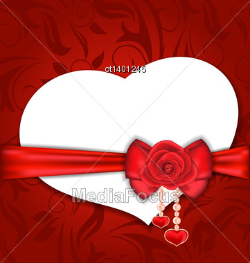 Illustration Card Heart Shaped With Silk Bow And Red Rose For Valentine Day - Vector Stock Photo